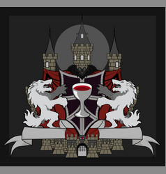 Coat of arms vampire bat vector