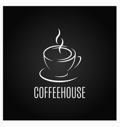 Coffee cup logo design on black background vector