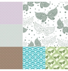 Collection seamless pastel patterns vector image