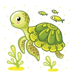 Cute cartoon turtle isolated vector
