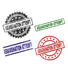 Damaged textured assassination attempt stamp seals vector