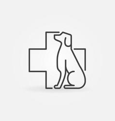 Dog with veterinary cross icon vector