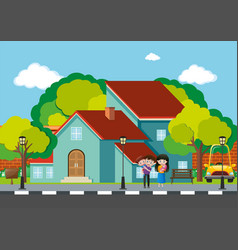 Family standing at the house on the road vector