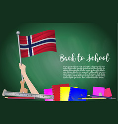 Flag of norway on black chalkboard background vector