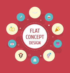 Flat icons patisserie card present and other vector