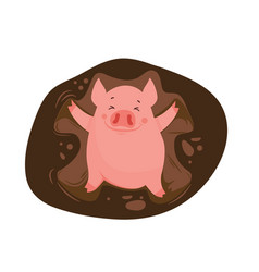 Funny and cute cartoon pig making a snow angel in vector