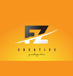fz f z letter modern logo design with yellow vector image