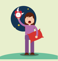 girl waking up holding pillow and clock vector image