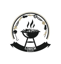Grill barbecue fire icon vector image