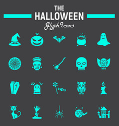 halloween glyph icon set scary symbols collection vector image