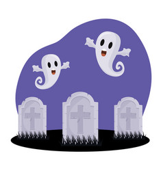 Halloween graves and ghosts design vector