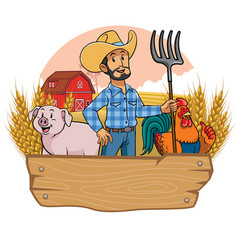 happy farmer and animals farm with blank wooden vector image