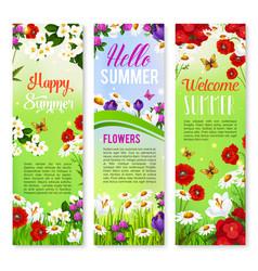 Happy summer floral greeting banner set design vector