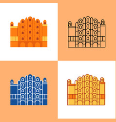 hawa mahal icon set in flat and line styles vector image