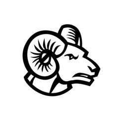 head bighorn sheep ram side view mascot retro vector image