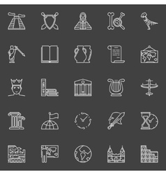 History linear icons vector