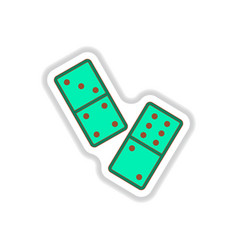 In paper sticker style domino vector