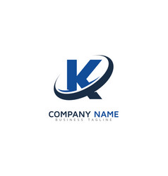 K ring letter with swoosh logo icon design vector