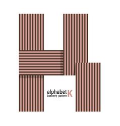 K - unique alphabet design with basketry pattern vector