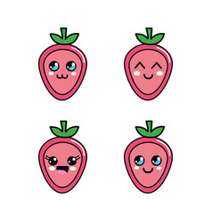 Kawaii strawberry diferents faces icon vector