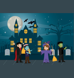 kids in halloween cartoon vector image