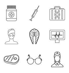 lady health icons set outline style vector image