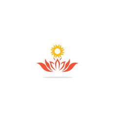 Lotus flower sunshine logo vector