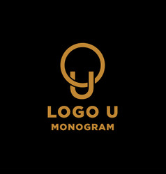 Luxury initial u logo design icon element isolated vector