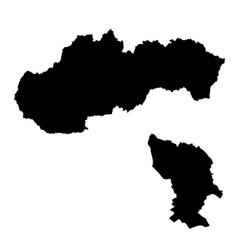 Map slovakia and bratislava country and capital vector