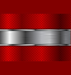 metal background red perforated texture vector image