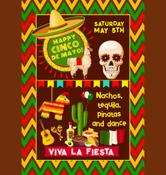 mexican poster for cinco de mayo fiesta vector image