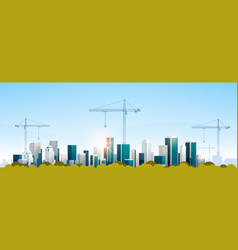 modern city construction site tower cranes vector image
