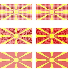 Mosaic Macedonia flag set vector