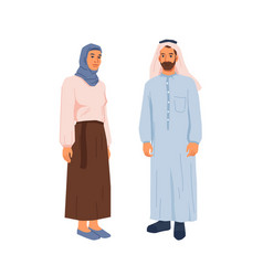 Muslims couple in traditional dress hijab family vector