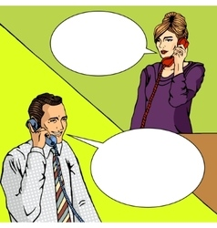 People talk on the phone comic book vector