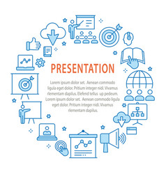 presentation outline icons set for interface vector image