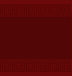 Red greek key meander border background vector