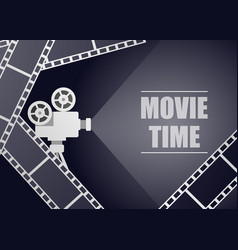 retro movie projector on a blue background with vector image