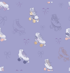 Roller skates and lace bows on violet vector