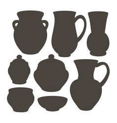 Rustic ceramic utensils vector