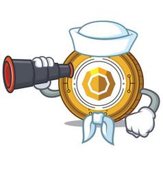 Sailor with binocular komodo coin mascot cartoon vector