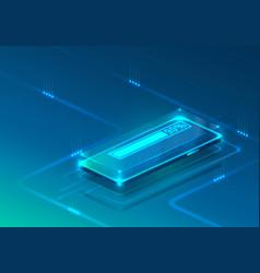 screen phone neon icon loading modern blue vector image