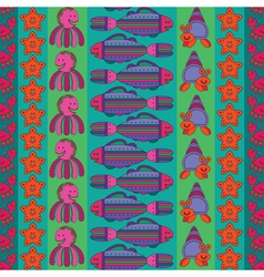 Seamless pattern with stylize fishes vector
