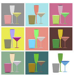 Set icons in flat design cocktail glasses vector