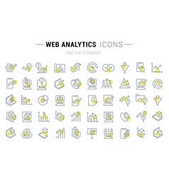 set line icons web analytics vector image