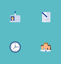 set of business icons flat style symbols with time vector image