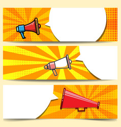 set of comic style banner templates with vector image