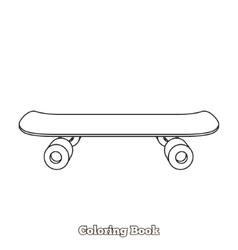 Skateboard cartoon coloring book vector image
