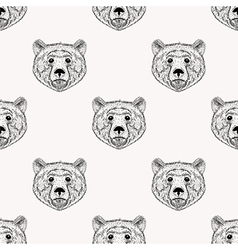 Sketch realistic face Bear seamless pattern Hand vector image