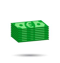 Stacks of euro cash in flat design on white vector